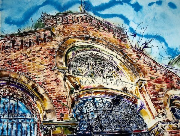 Painting looking up at the Brickwork and firsherman freize on Manchester Fish MarketManchester Fish Market - ©2017 Cathy Read - Watercolour and acrylic ink - 56 x 76cm