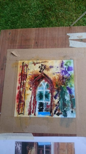 Painting of an Arch Window at Claydon House 19 The Arch Window - ©2018 - Cathy Read - WIP Watercolour and Acrylic 17.8 x17.8cm
