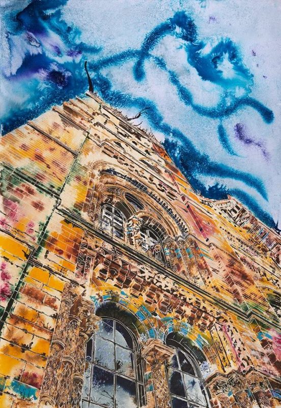 Painting of the Natural History Museum's main entrance in vibrant colours Natural History Gaffiti ©2018 - Cathy Read - Watercolour and Acrylic ink