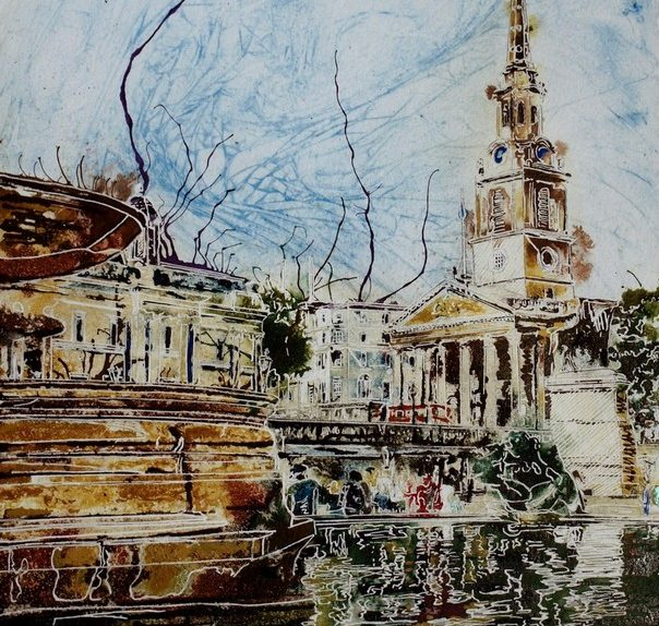 Painting of Trafalgar square and Trafalgar-Fountain and St Martin in the Fileds church London Trafalgar-Fountain - ©2018-Cathy-Read-Watercolour-and-Acrylic-40-x-30-cm-£390