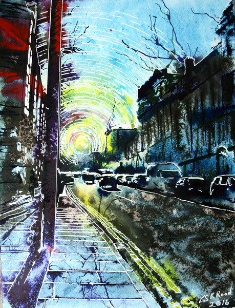 Painting of Deansgate in Manchester looking towards the setting sun Sunlit-Street - ©2016 Cathy-Read-Watercolour-and-Acrylic-30-40-cm