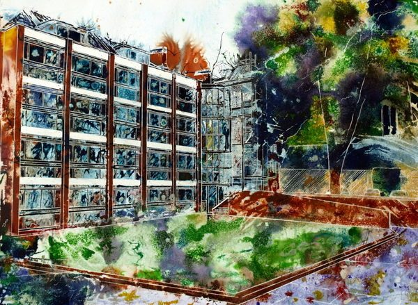 Painting of St Peter's College, Oxford - Chavasse Quad - ©2013 Cathy Read - Watercolour and Acrylic-55-x-75-cm