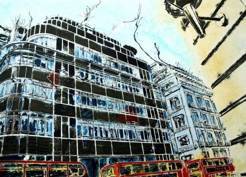 Fleet Street Painting of the Icon Daily Express building - ©2016 Cathy Read -Watercolour and acylic ink - 56 x 76.5cm