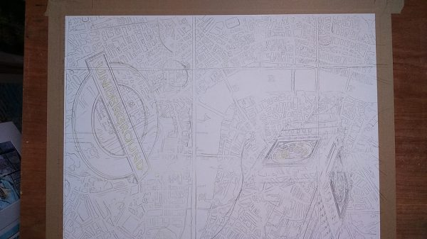 Pencil Drawing of Big Ben, underground sign and London Map Cathy Read-London Maps - 56x76cm - £1237 ©2016- masking
