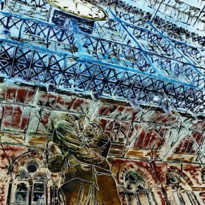 Painting of St Pancras Station looking up at the sculpture, roof and Clock, Farewell Tommy - Cathy Read ©2014 -- Watercolour and Acrylic -50 x 40cm