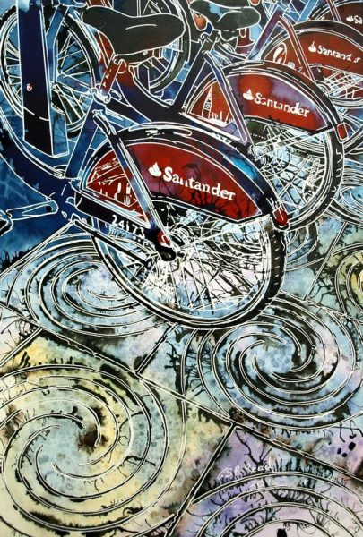 Painting of the London Passenger bikes in the streetBoris Bikes - ©2016 - Cathy Read - Watercolour and Acrylic - 30.8 x 45.2 cm - £398