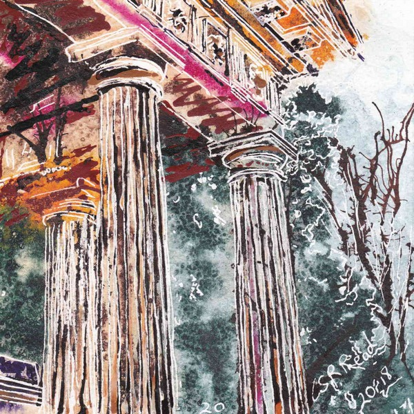Painting of Columns at one of the temples at Stowe Gardens20 Temple Columns - ©2018 - Cathy Read - Watercolour and Acrylic - 17.8x17.8cm £140 framed