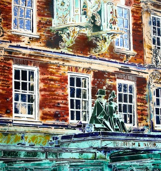The frontage of Fortnum and Mason paintingfeaturing the clock and Lynn Chadwick Sculpture King and Queen-Cathy Read-81-x-61cm-©2018