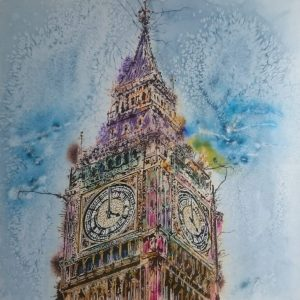 Painting of Big Ben, the clock towers and the Houses of Paliament - ©2018- Cathy Read - 61 x 61cm Watercolour and acrylic ink