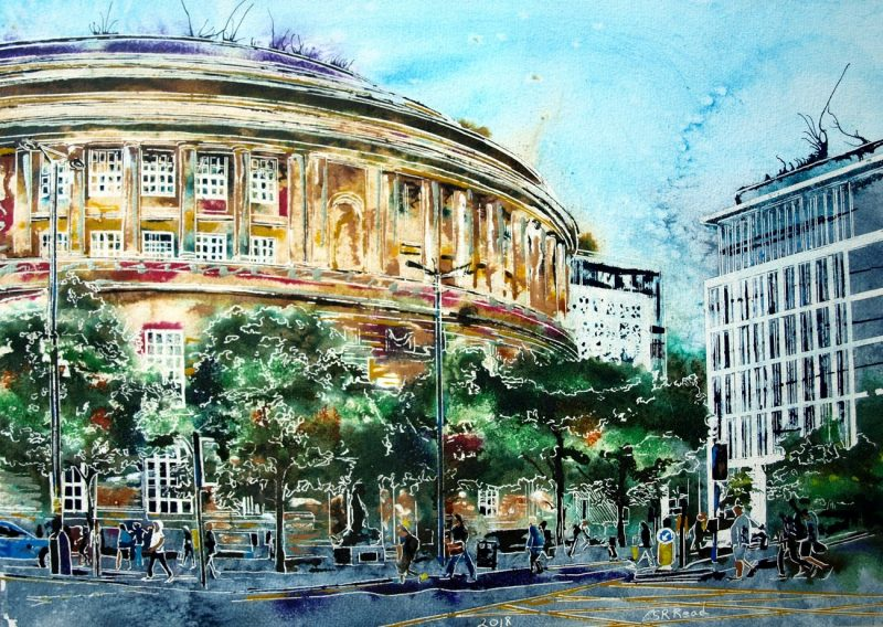 Painting of people passing Manchester Central Library on their wy home Heading-home-Past Central-Library-Cathy-Read-42.5-x-59-cm-©2018