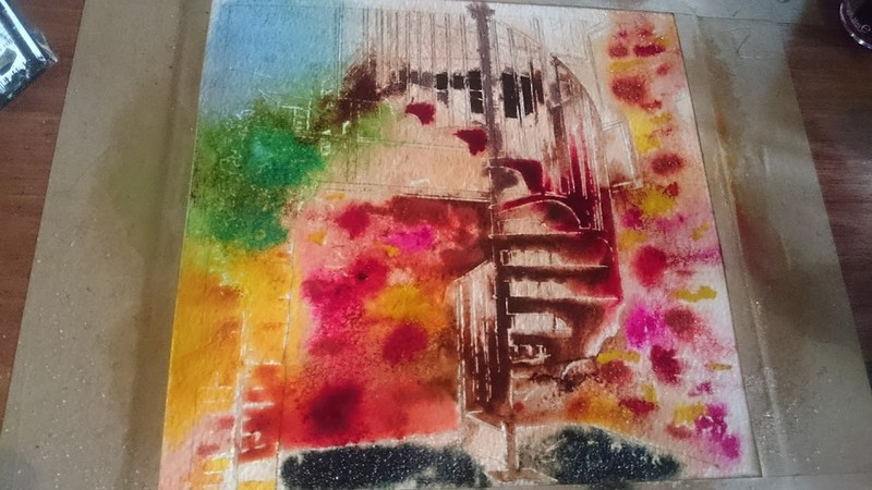 21 Spiral Staircase ©2018 - Cathy Read -  Watercolour and Acrylic - 17.8x17.8cm
