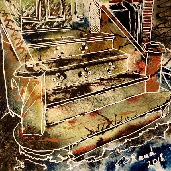 Doorstep art, painting of a doorstep in Buckingham26 Doorstep - Cathy Read - ©2018 -   Watercolour and Acrylic  - 17.8x17.8cm - £154 600