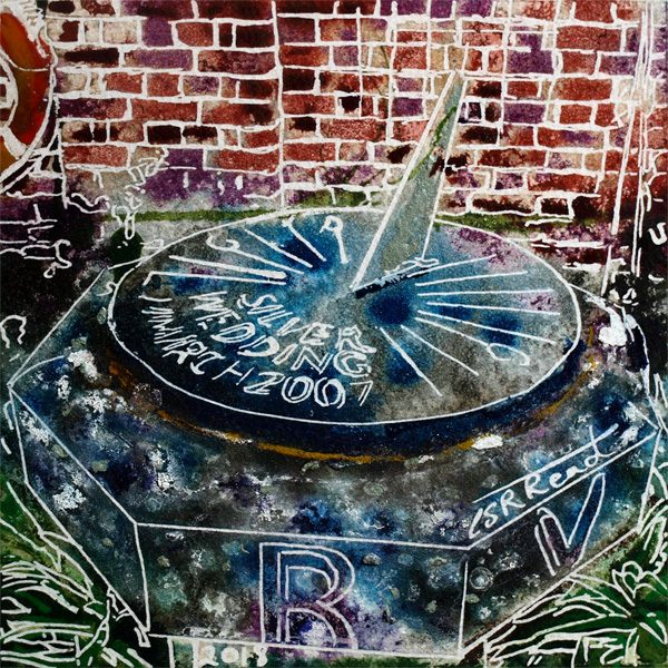 Original sundial painting of the sundial in the walled gardens at Claydon House in Buckinghamshire34 Sundial - Cathy Read - ©2018 - Watercolour and Acrylic - 17.8 x 17.8cm