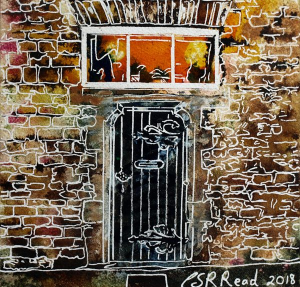 Robot door painting of a Door in School lane Buckingham, part of the old school building.37 Robot Door- Cathy Read - ©2018 - Watercolour and Acrylic - 17.8 x 17.8cm