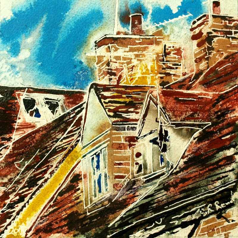 Painting of roof windows in Buckingham36 Dormer Windows - Cathy Read - ©2018-Watercolour-and-Acrylic-17.8x17.8cm