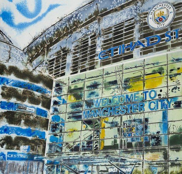Manchester Blue Painting of the Etihad Stadium Manchester City Football groundManchester-Blue-Cathy-Read-£1357-81x61cm-©2018