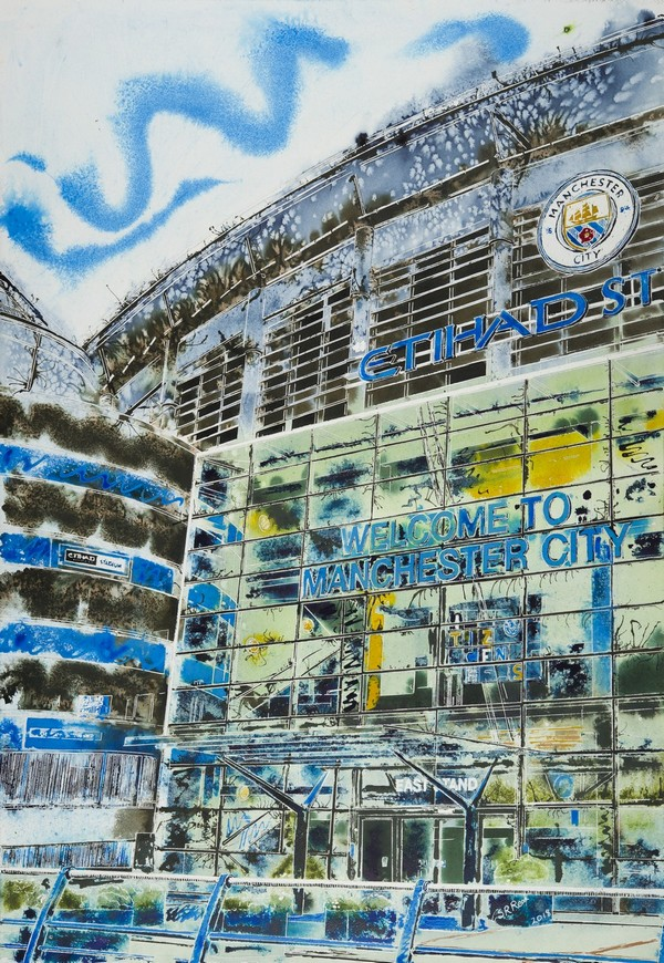 Contemporary Architecture painting of the Etihad Stadium Manchester City Football groundManchester-Blue-Cathy-Read-81x61cm-©2018