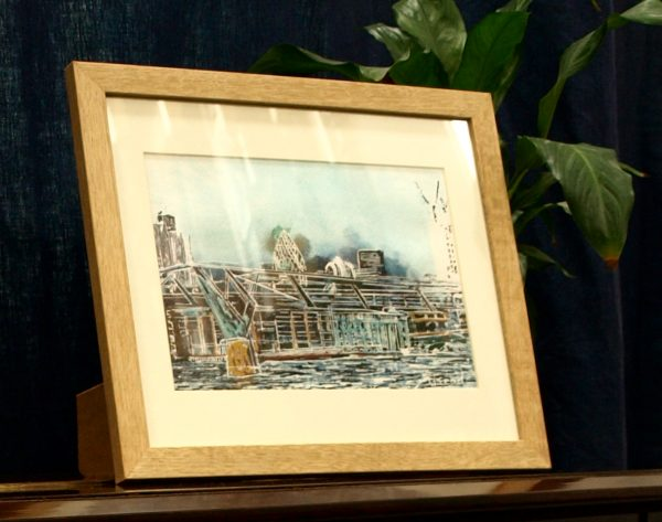 Millennium Bridge- ©2015- Cathy Read-Watercolour and Acrylic-17.5x25cm