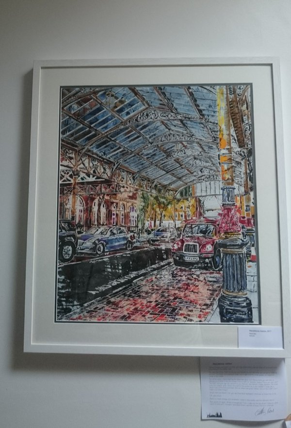 Framed painting of Marylebone station by Cathy Read