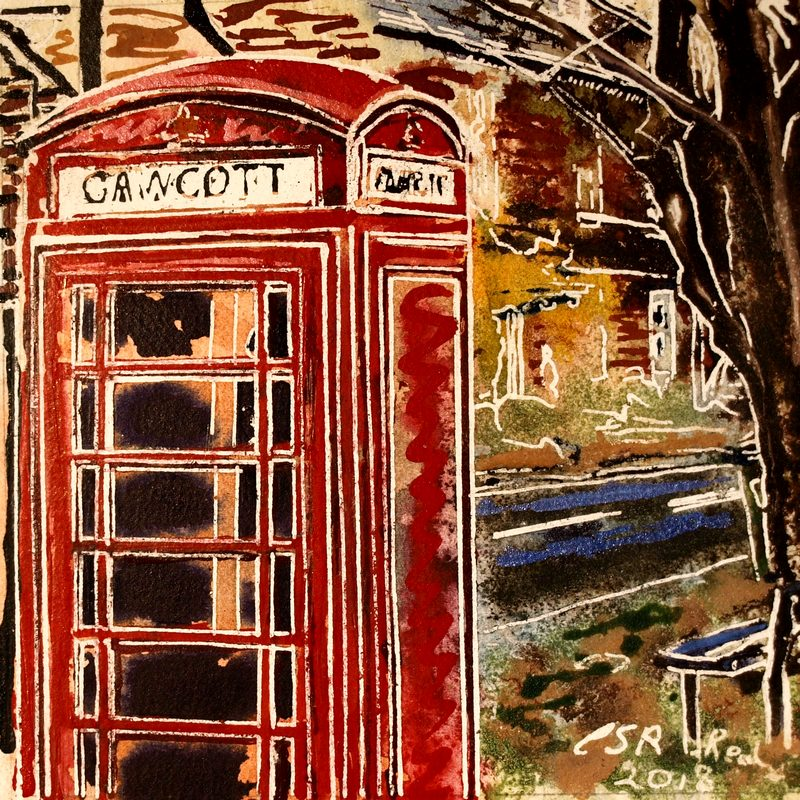 Painting of a telephone box in Gawcotte47 Phonebox Detaill - ©2018 - Cathy Read - Watercolour and Acrylic - 17.8x17.8cm