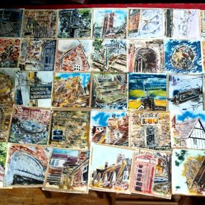 All 50 of the 4950m paintings displayed unframed4950 paintings completed - ©2018 - Cathy Read - - Watercolour and Acrylic ink