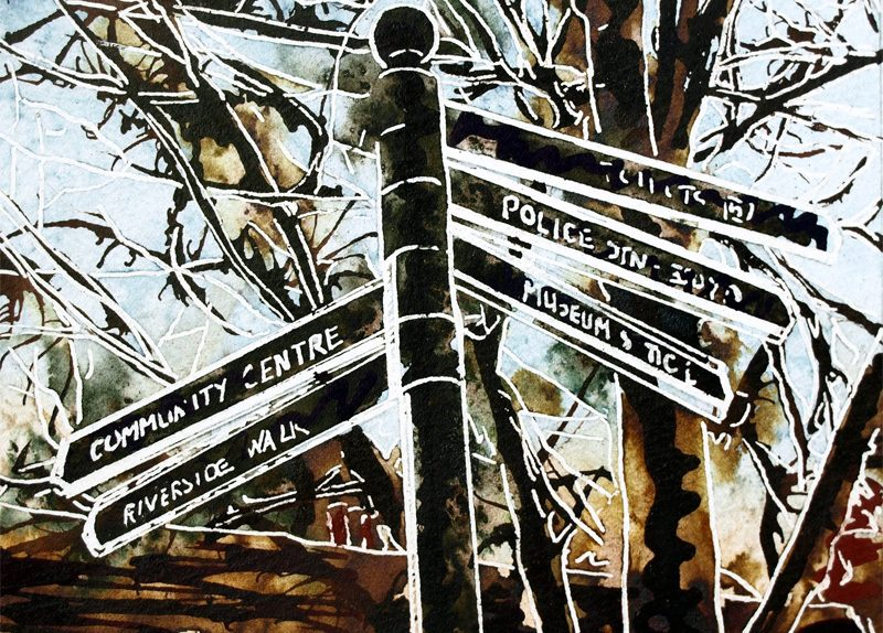 Painting of a signpost in Buckingham 50 Signpost - ©2018 - Cathy Read -Watercolour and Acrylic ink - SOLD