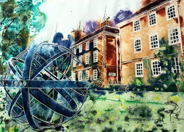 Watercolour and Acrylic ink painting of the Sundial and sunken gardens at Lady Margaret Hall in Oxford. by Cathy Read