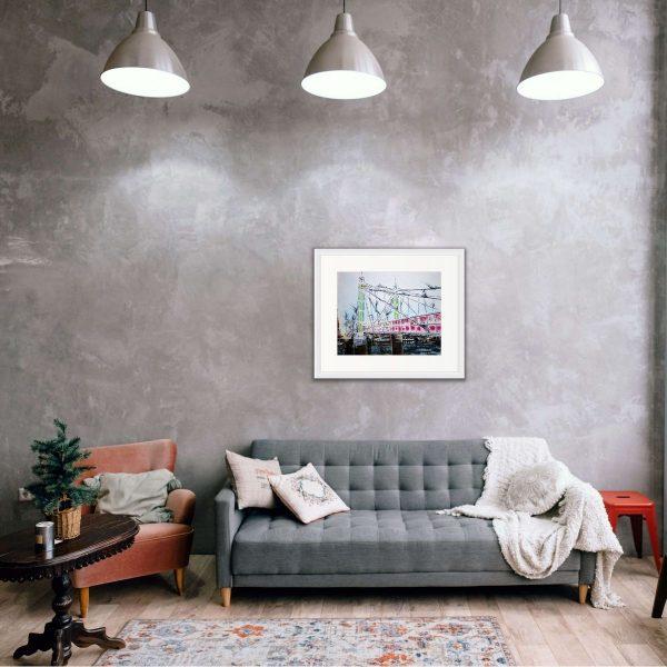 Room setting featuring painting of Albert Bridge