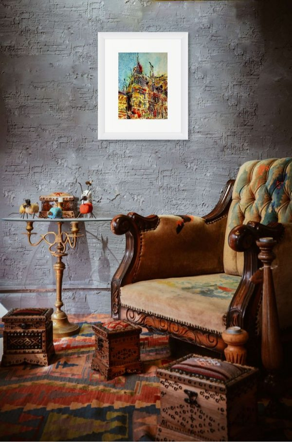 Balliol College painting by Cathy Read in room setting