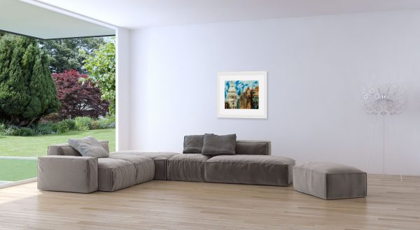 Painitng of The Life of London Churches in a room setting.