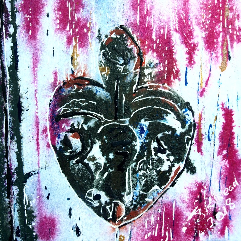39 Heart Keyhole - ©2018 - Cathy Read - Watercolour and Acrylic - 17.8x17.8cm