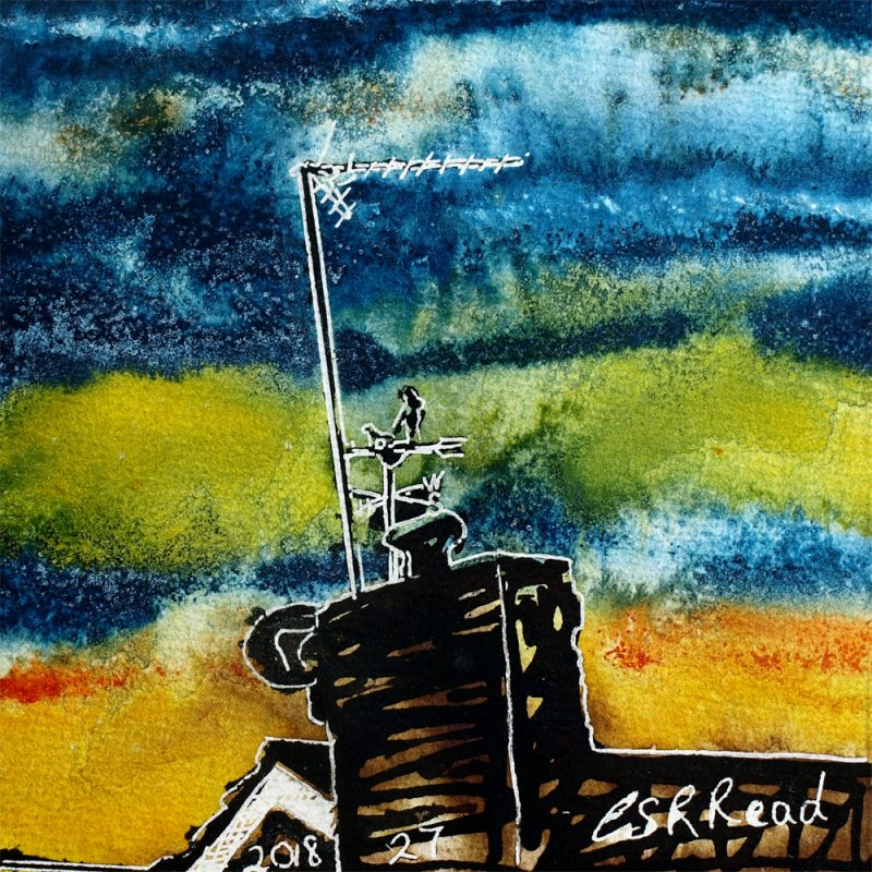 Painting of a weather vane with a colourful stainted glass sky behind.27 Weather Vane - ©2018 - Cathy Read - Watercolour and Acrylic - 17.8x17.8cm