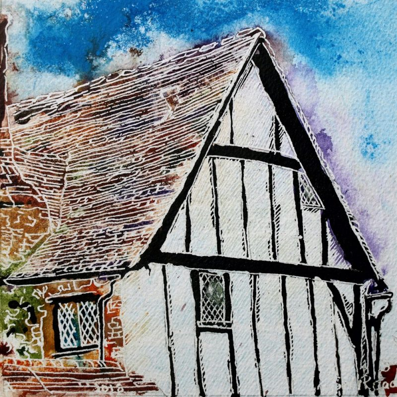 Painting of a Timer framed building in Buckingham38 Timber Frame - ©2018 - Cathy Read - Watercolour and Acrylic - 17.8x17.8cm