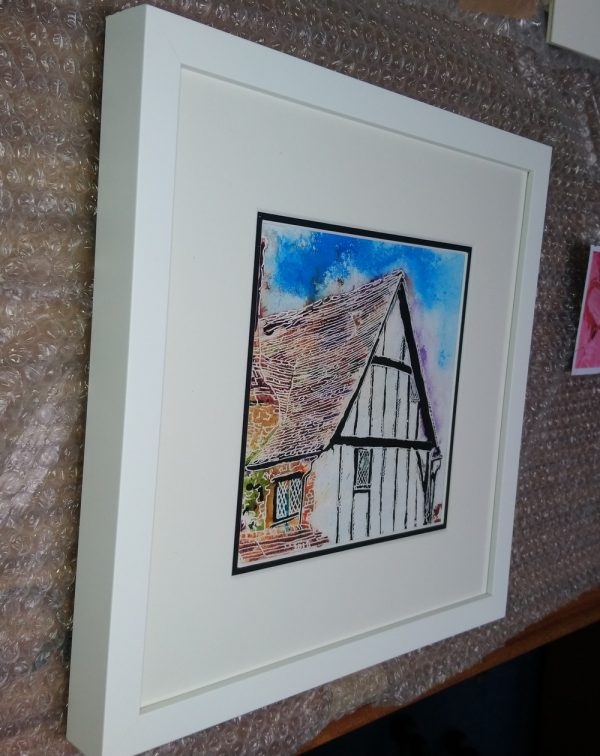 38 Timber Frame - ©2018 - Cathy Read - Watercolour and Acrylic - 17.8x17.8cm Framed picture front
