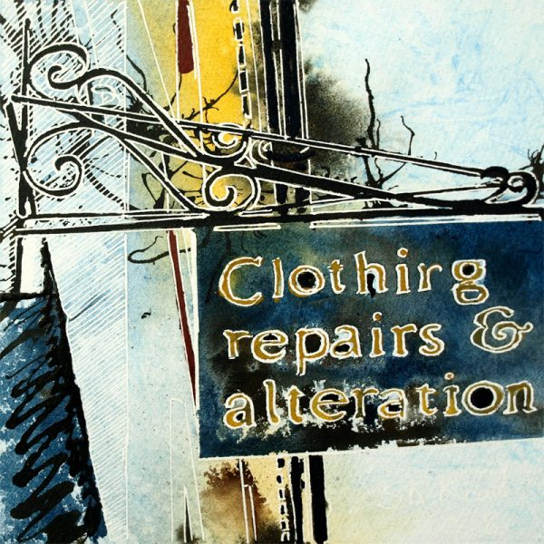 Painting of a shop sign in BuckinghamShop Sign - ©2018 - Cathy Read -Watercolour and Acrylic - 17.8x17.8cm