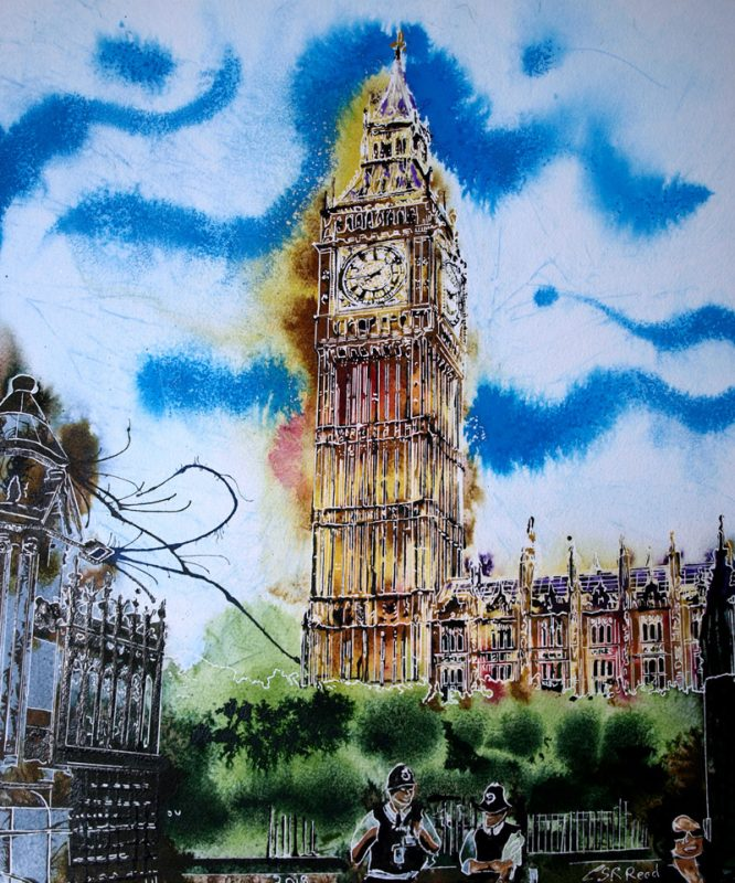 Big Ben meditations Painting of Houses of Parliament in London with 2 police officers On Duty - ©2019 - Cathy Read -Watercolour and Acrylic - 51cm x 41cm February Painting created in 2019