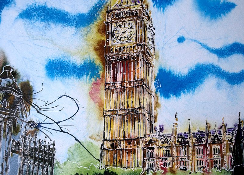 Big Ben meditations Painting of Houses of Parliament in London with 2 police officers On Duty - ©2019 - Cathy Read -Watercolour and Acrylic - 51cm x 41cm