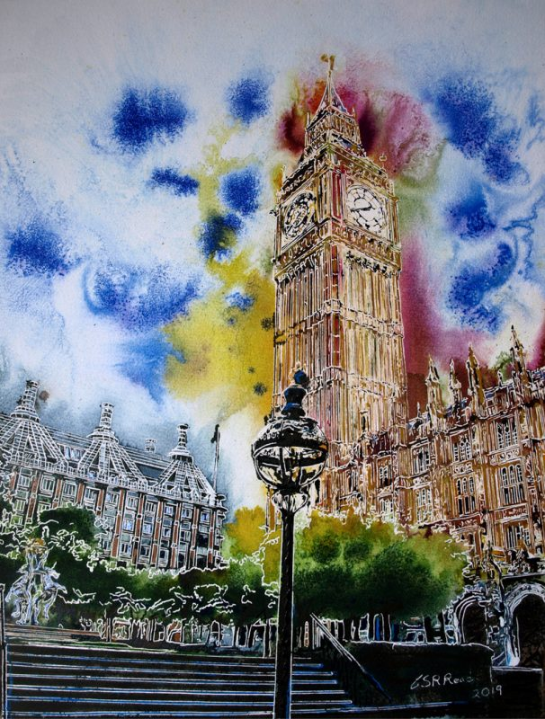Painting of Houses of Parliament in London in bright rainbow colours Rainbow Palace - ©2019 - Cathy Read -Watercolour and Acrylic - 52cm x 42cm First painting created in 2019