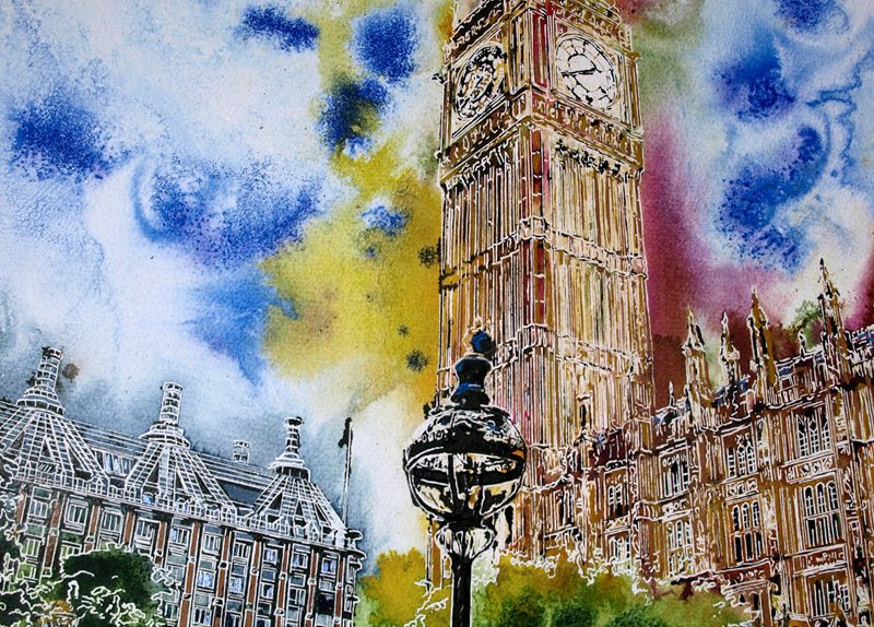 Painting of Houses of Parliament in London in bright rainbow colours Rainbow Palace - ©2019 - Cathy Read -Watercolour and Acrylic - 52cm x 42cm