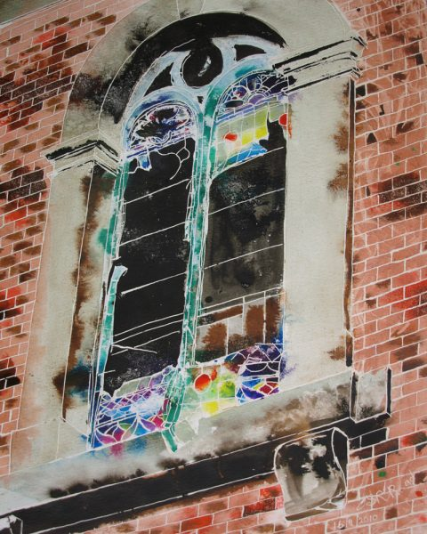 Window on the Past - ©2010 - Cathy-Read - 40.6x50.8cm - Watercolour and Acrylic-ink Painting of church sindow of Providence Chapel in Middleton, Greater Manchester