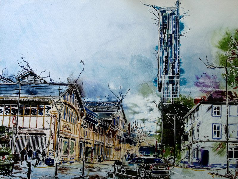 Manchester MOSI Art featuring Beethams Tower, the Museum of Science and Industry and a few other curiousities. MOSI Grey - ©2016 - Cathy Read - Watercolour and acrylic ink - 43x59cm