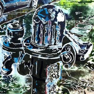 5 Gawcotte Pump -©2018-Cathy-Read-Watercolour-and-Acrylic