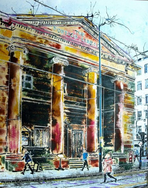 Passing by Portico ©2018 Cathy Read Painting of Moseley Street Manchester