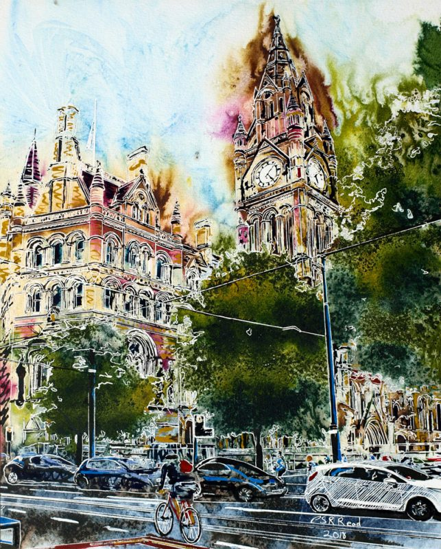 The Spirit of Manchester - ©2018 - Cathy Read - Watercolour and Acrylic - 50 x 40 cm