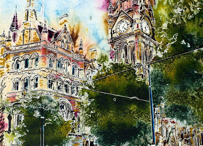 The Spirit of Manchester painting - ©2018 - Cathy Read - Watercolour and Acrylic - 50 x 40 cm