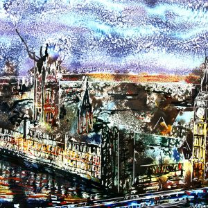 Painting of the Houses of Parliament at night- ©2014 - Cathy Read - Watercolour and Acrylic on paper on board -40 x 50 cm