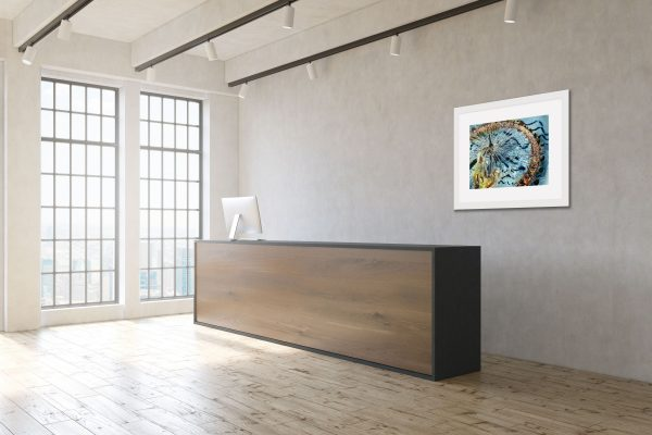 Room layout with Weight of the Eye painting on the wall