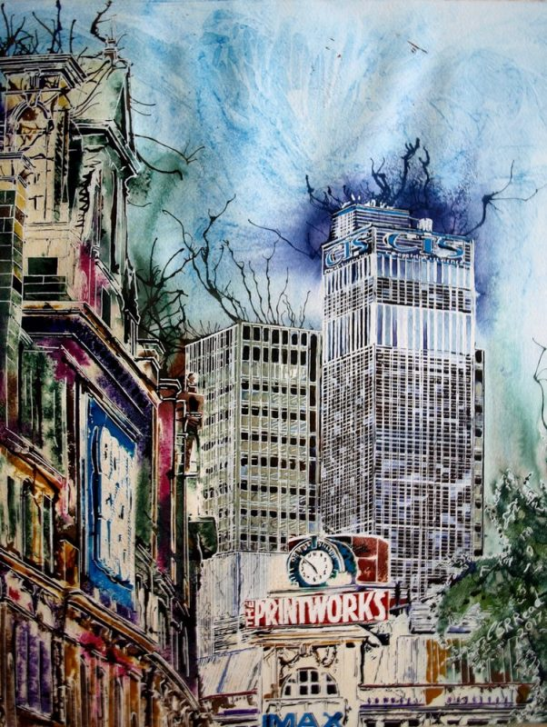 Painting of Manchester skyline with Printworks, corn exchange and CIS towerPrintworks - ©2017-Cathy Read- watercolour and arylic ink