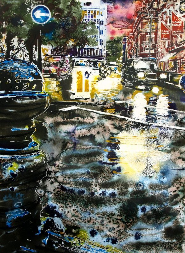 Sloane Square at Night -Cathy Read - ©2017 - watercolour and Acrylic Ink