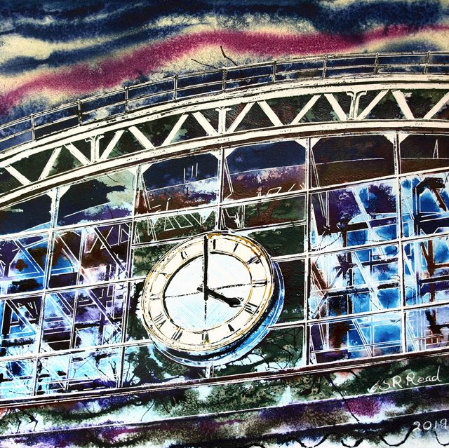 Manchester Central Painting of the Station - ©2019 - Cathy Read - Watercolour and Acrylic - 40 x 50 cm
